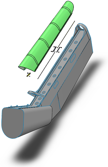 Vertical fin and cover diagram