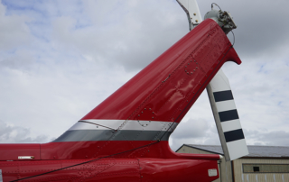 Vertical fin cover on bell helicopter sideview